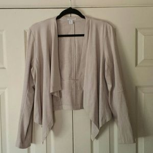 Katherine Barclay drape jacket faux suede beige L